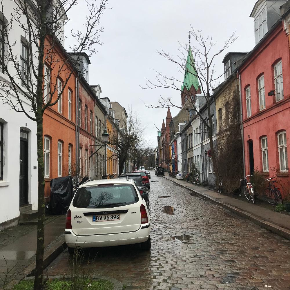 Rainy street in Denmark